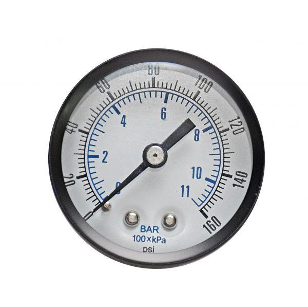 1/8″ NPT, 0-160 PSI (0-11bar), Brass Pressure Gauge