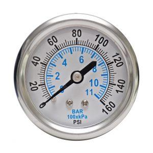 1/4″ NPT, 0-160 PSI (0-11bar), Stainless Steel Pressure Gauge